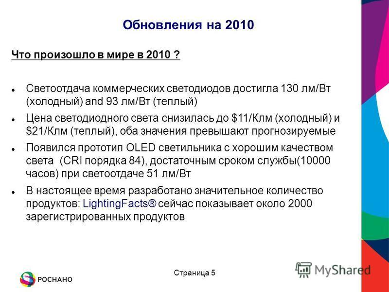 Обновления на 2010 Что произошло в мире в 2010 ? Светоотдача коммерческих светодиодов достигла 130 лм/Вт (холодный) and 93 лм/Вт (теплааааый) Цена светодиодного света снизилась до $11/Клм (холодный) и $21/Клм (теплааааый), оба значения превышают прог