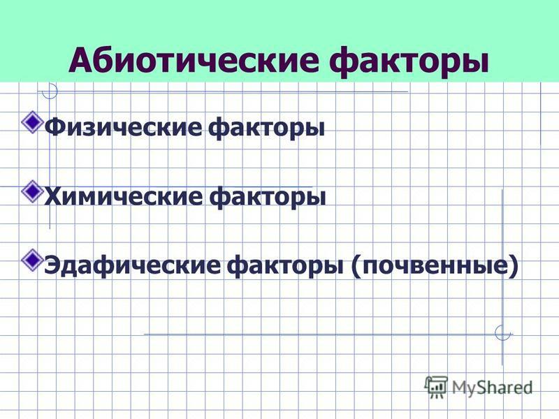 Абиотические факторы Физические факторы Химические факторы Эдафические факторы (почвенные)