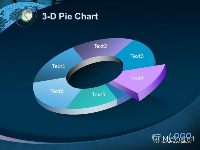 LOGO http://www.ppt.prtxt.ru 3-D Pie Chart Text1 Text2 Text3 Text4 Text5 Text6
