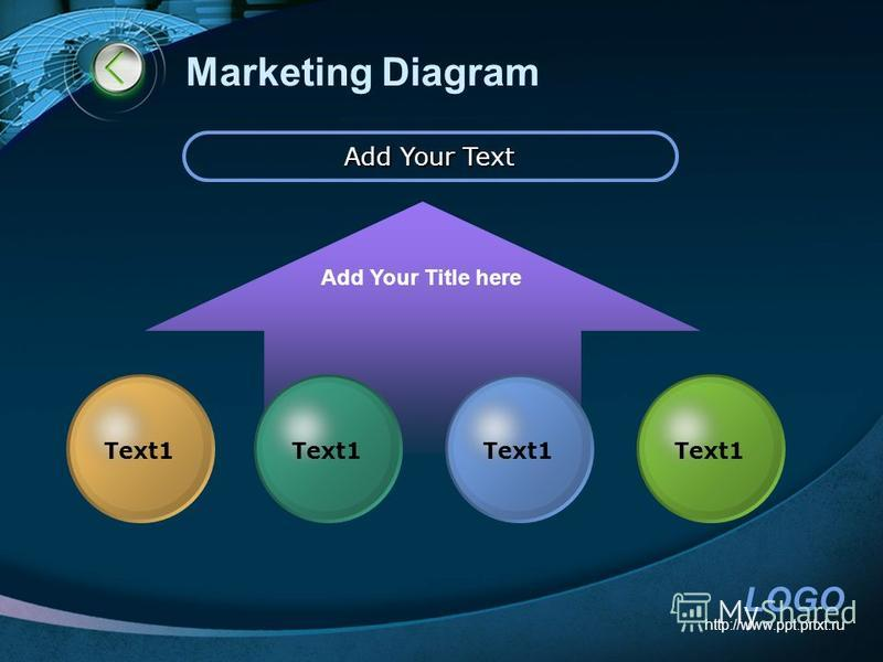 LOGO http://www.ppt.prtxt.ru Marketing Diagram Add Your Text Add Your Title here Text1