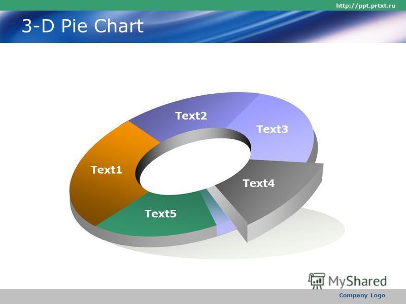 http://ppt.prtxt.ru Company Logo 3-D Pie Chart Text1 Text2 Text3 Text4 Text5