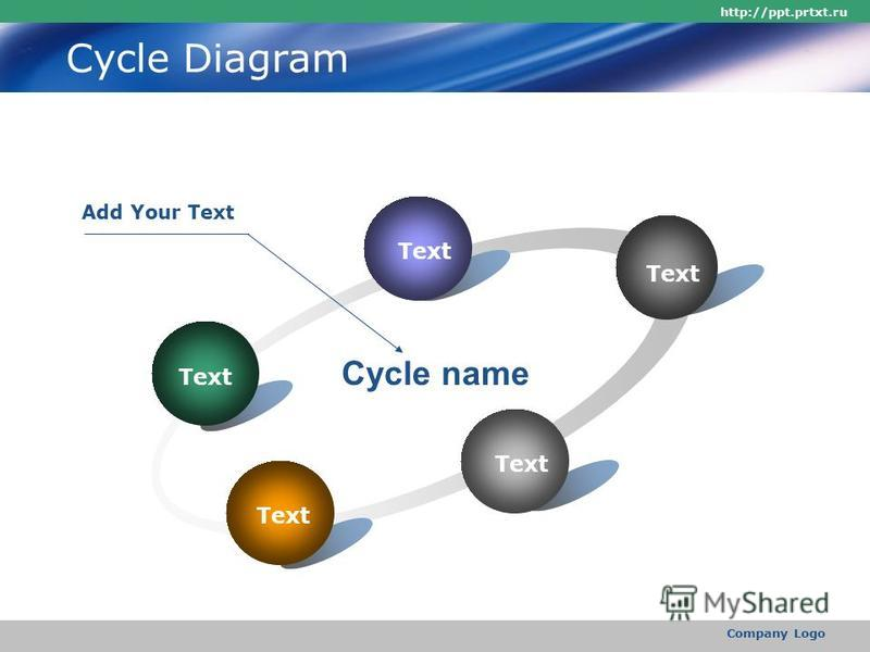 http://ppt.prtxt.ru Company Logo Cycle Diagram Text Cycle name Add Your Text