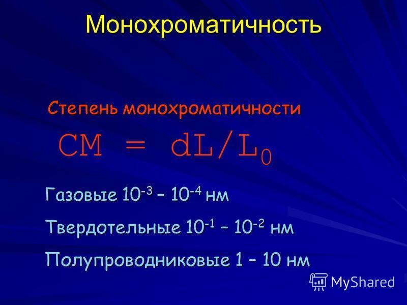 Монохроматичность СМ = dL/L 0 Степень монохроматичности Газовые 10 -3 – 10 -4 нм Твердотельные 10 -1 – 10 -2 нм Полупроводниковые 1 – 10 нм