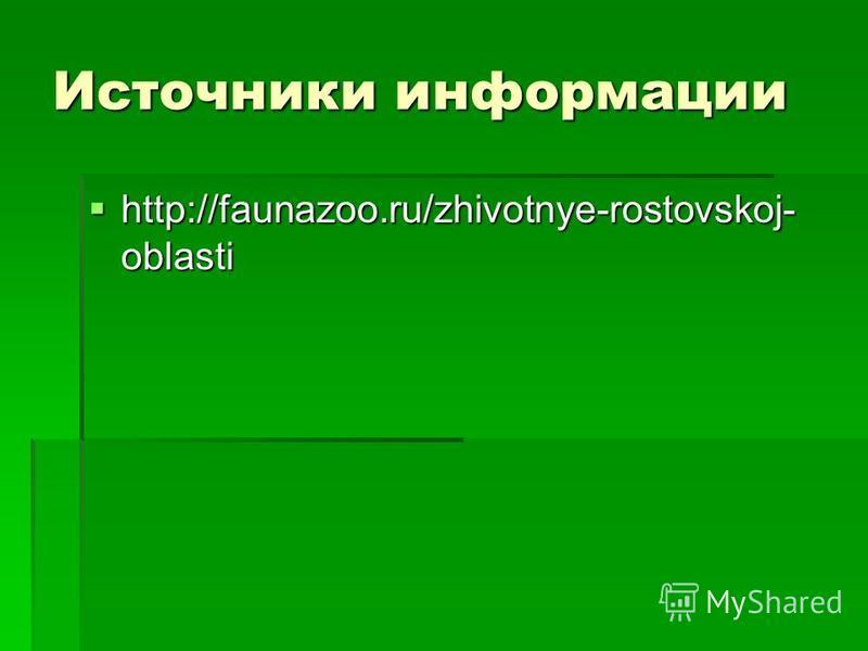 Источники информации http://faunazoo.ru/zhivotnye-rostovskoj- oblasti http://faunazoo.ru/zhivotnye-rostovskoj- oblasti