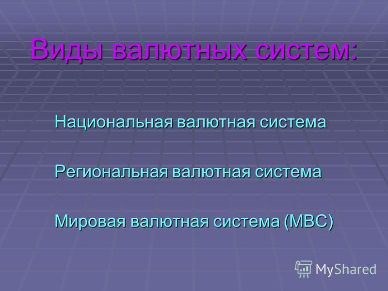 Виды валютных систем: Национальная валютная система Региональная валютная система Мировая валютная система (МВС)
