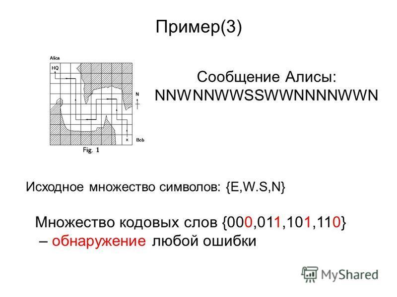 Пример(3) Сообщение Алисы: NNWNNWWSSWWNNNNWWN Исходное множество символов: {E,W.S,N} Множество кодовых слов {000,011,101,110} – обнаружение любой ошибки