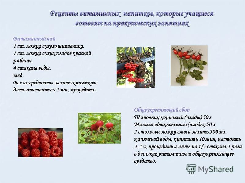 Рецепты витаминных напитков, которые учащиеся готовят на практических занятиях Витаминный чай 1 ст. ложка сухого шиповника, 1 ст. ложка сухих плодов красной рябины, 4 стакана воды, мед. Все ингредиенты залить кипятком, дать отстояться 1 час, процедит