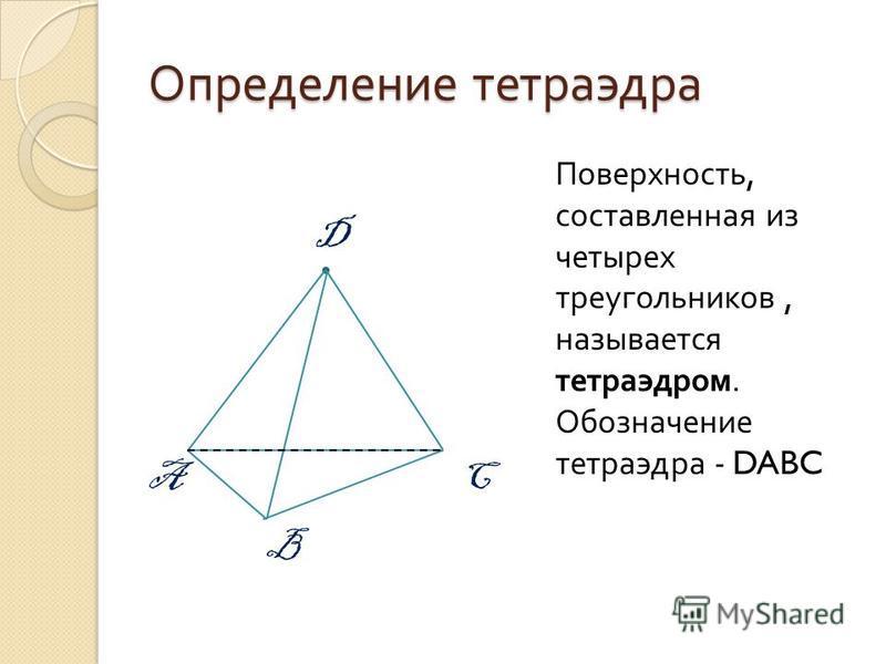Определение тетраэдра Поверхность, составленная из четырех треугольников, называется тетраэдром. Обозначение тетраэдра - DABC D A B C