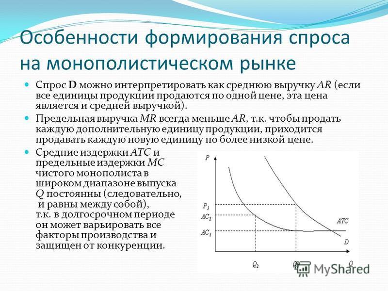 Особенности формирования спроса на монополистическом рынке Спрос D можно интерпретировать как среднюю выручку AR (если все единицы продукции продаются по одной цене, эта цена является и средней выручкой). Предельная выручка MR всегда меньше AR, т.к.
