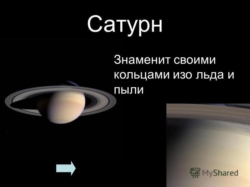 Сатурн Знаменит своими кольцами изо льда и пыли