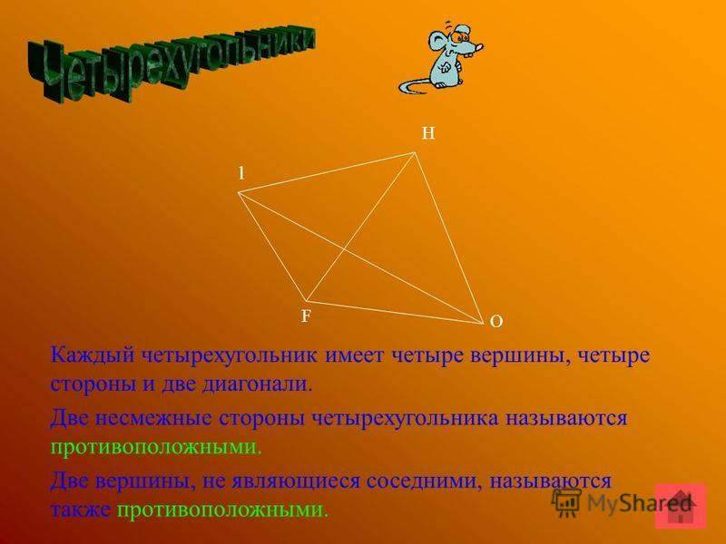 F l Н О Каждый четырехугольник имеет четыре вершины, четыре стороны и две диагонали. Две несмежные стороны четырехугольника называются противоположными. Две вершины, не являющиеся соседними, называются также противоположными.