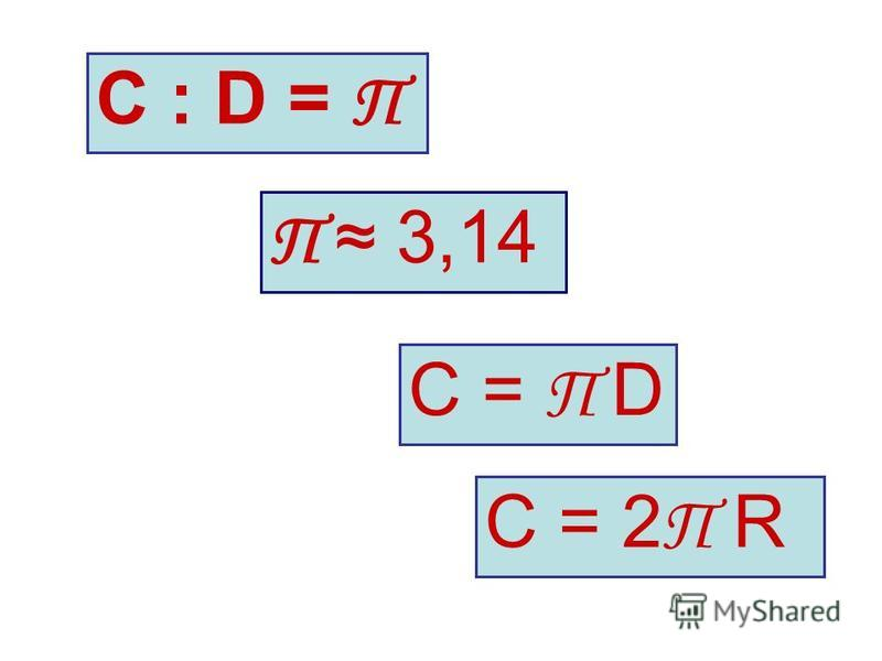 С : D = П С = 2 П R С = П D П 3,14