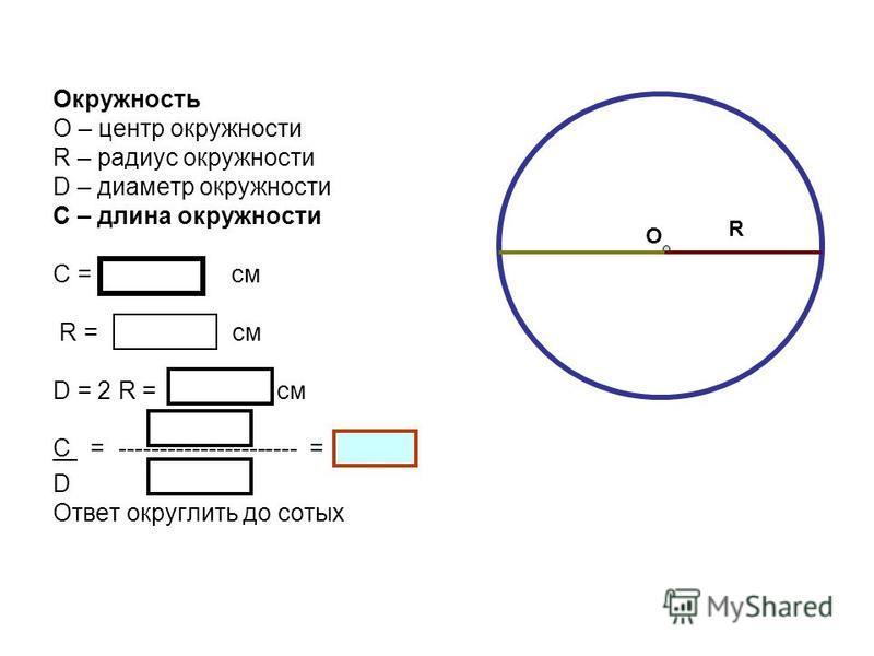 Окружность О – центр окружности R – радиус окружности D – диаметр окружности С – длина окружности С = см R = см D = 2 R = см С = ---------------------- = D Ответ округлить до сотых О R