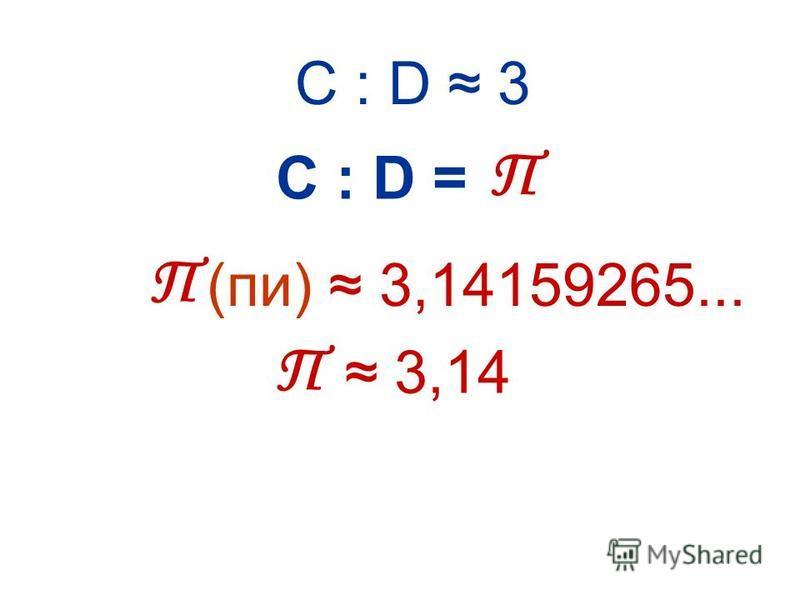 С : D 3 С : D = (пи) 3,14159265... 3,14 П П П