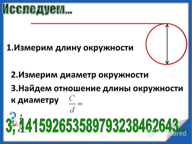 1. Измерим длину окружности 2. Измерим диаметр окружности 3. Найдем отношение длины окружности к диаметру