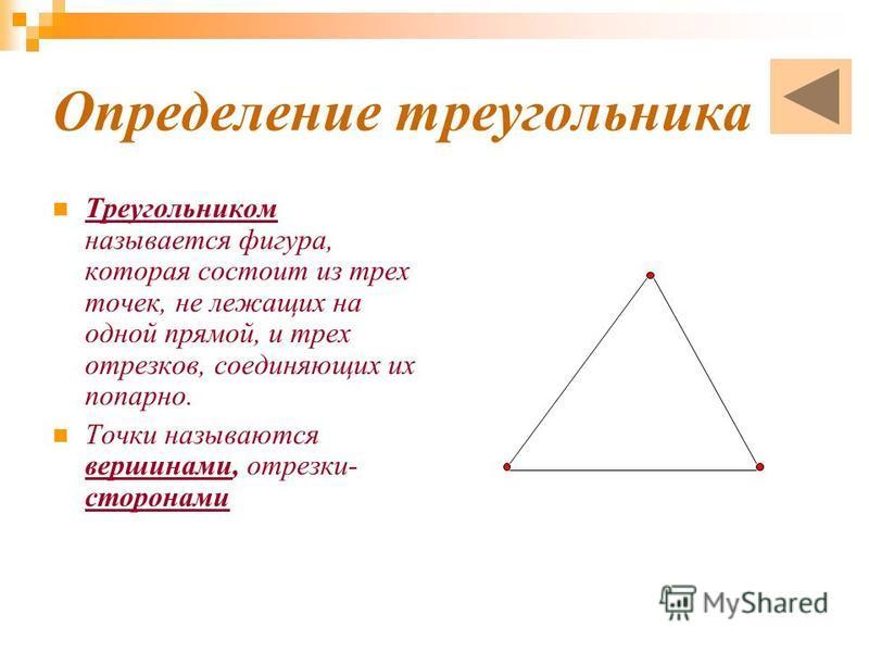 Определение треугольника Треугольником называется фигура, которая состоит из трех точек, не лежащих на одной прямой, и трех отрезков, соединяющих их попарно. Точки называются вершинами, отрезки- сторонами