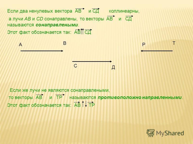 Если два ненулевых вектора АВ и СД коллинеарныйй, а лучи AB и CD сонаправлены, то векторы АВ и СД называются сонаправленными. Этот факт обозначается так: АВ СД Если же лучи не являются сонаправленными, то векторы АВ и ТР называются противоположно нап