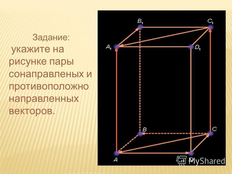 Задание: укажите на рисунке пары сонаправленных и противоположно направленных векторов.