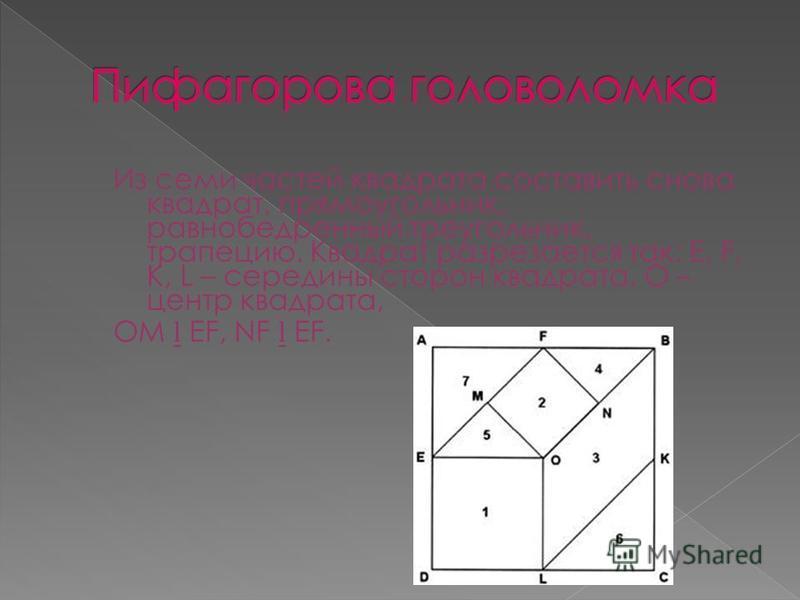 Из семи частей квадрата составить снова квадрат, прямоугольник, равнобедренный треугольник, трапецию. Квадрат разрезается так: E, F, K, L – середины сторон квадрата, О – центр квадрата, ОМ EF, NF EF.
