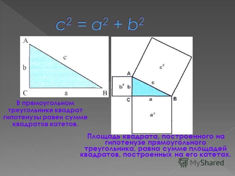 В прямоугольном треугольнике квадрат гипотенузы равен сумме квадратов катетов. Площадь квадрата, построенного на гипотенузе прямоугольного треугольника, равна сумме площадей квадратов, построенных на его катетах.