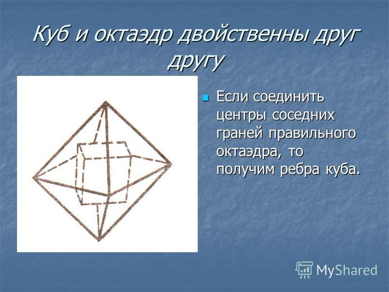 Куб и октаэдр двойственны друг другу Если соединить центры соседних граней правильного октаэдра, то получим ребра куба. Если соединить центры соседних граней правильного октаэдра, то получим ребра куба.