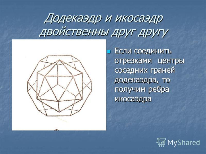 Додекаэдр и икосаэдр двойственны друг другу Если соединить отрезками центры соседних граней додекаэдра, то получим ребра икосаэдра Если соединить отрезками центры соседних граней додекаэдра, то получим ребра икосаэдра