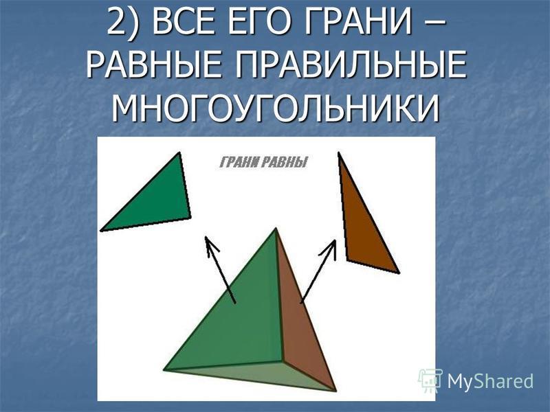 2) ВСЕ ЕГО ГРАНИ – РАВНЫЕ ПРАВИЛЬНЫЕ МНОГОУГОЛЬНИКИ