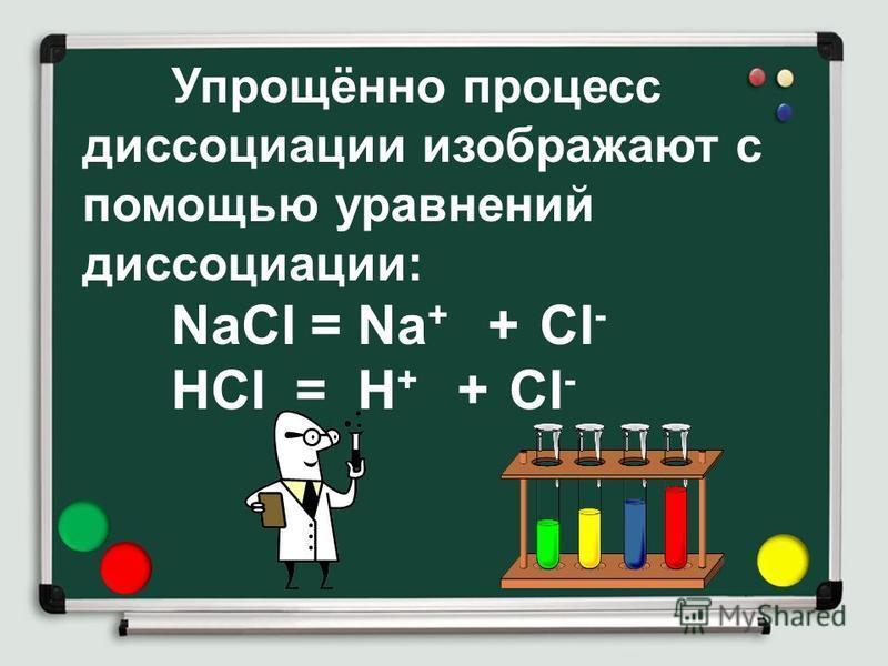 Упрощённо процесс диссоциации изображают с помощью уравнений диссоциации: NaCl = Na + + Cl - HCl = H + + Cl -