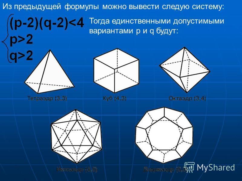 Характеристики многогранников. Название:Число ребер при вершине Число сторон грани Число граней Число ребер Число вершин Тетраэдр 33464 Куб 346128 Октаэдр 438126 Додекаэдр 35123020 Икосаэдр 53203012