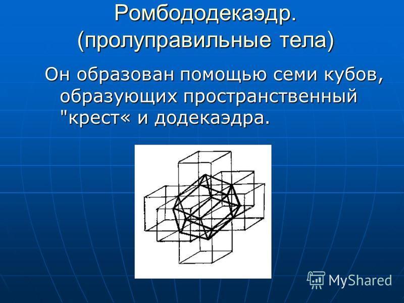 Полуправильные многогранники Курносый куб. Этот многогранник можно вписать в куб таким образом, что плоскости шести квадратных его граней совпадут с плоскостями граней куба, причем эти квадратные грани курносого куба окажутся как бы слегка повернутым
