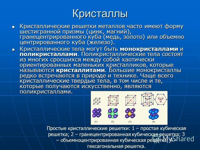 Нахождение в природе В кристаллических телах частицы располагаются в строгом порядке, образуя пространственные периодически повторяющиеся структуры во всем объеме тела. Для наглядного представления таких структур используются пространственные кристал