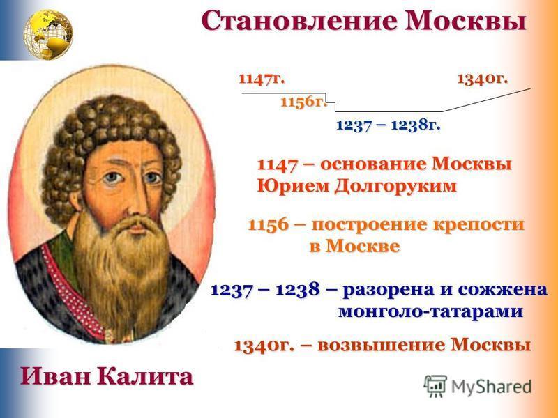 1147 г. 1156 г. 1237 – 1238 г. 1340 г. 1147 – основание Москвы Юрием Долгоруким 1156 – построение крепости в Москве в Москве 1237 – 1238 – разорена и сожжена монголо-татарами монголо-татарами 1340 г. – возвышение Москвы Иван Калита Становление Москвы