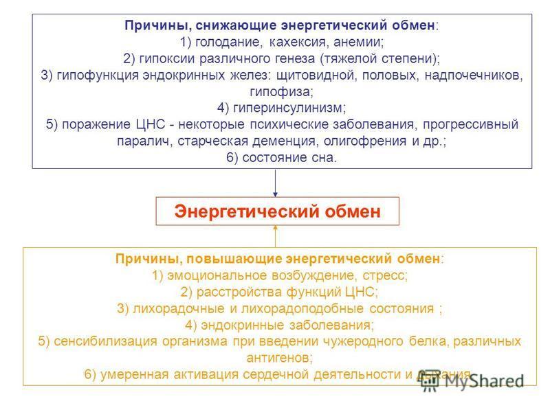 Энергетический обмен Причины, снижающие энергетический обмен: 1) голодание, кахексия, анемии; 2) гипоксии различного генеза (тяжелой степени); 3) гипофункция эндокринных желез: щитовидной, половых, надпочечников, гипофиза; 4) гиперинсулинизм; 5) пора