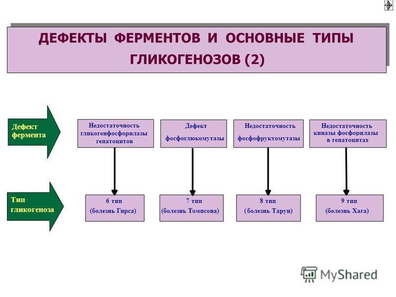 Недостаточность гликогенфосфорилазы гепатоцитов Дефект фосфоглюкомутазы Недостаточность фосфофруктомутазы Недостаточность киназы фосфорилазы в гепатоцитах 6 тип (болезнь Гирса) 8 тип (болезнь Таруи) 9 тип (болезнь Хага) 7 тип (болезнь Томпсона) Дефек