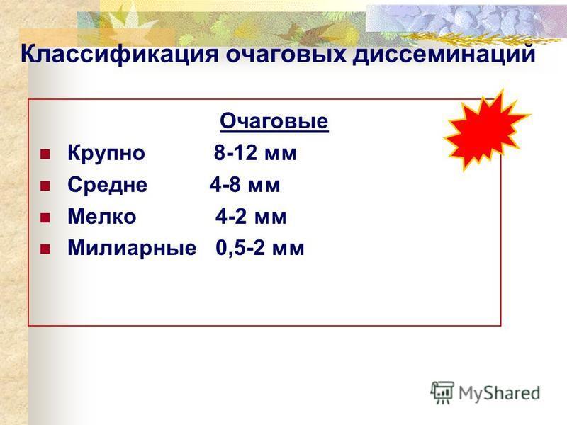 Классификация очаговых диссеминаций Очаговые Крупно 8-12 мм Средне 4-8 мм Мелко 4-2 мм Милиарные 0,5-2 мм