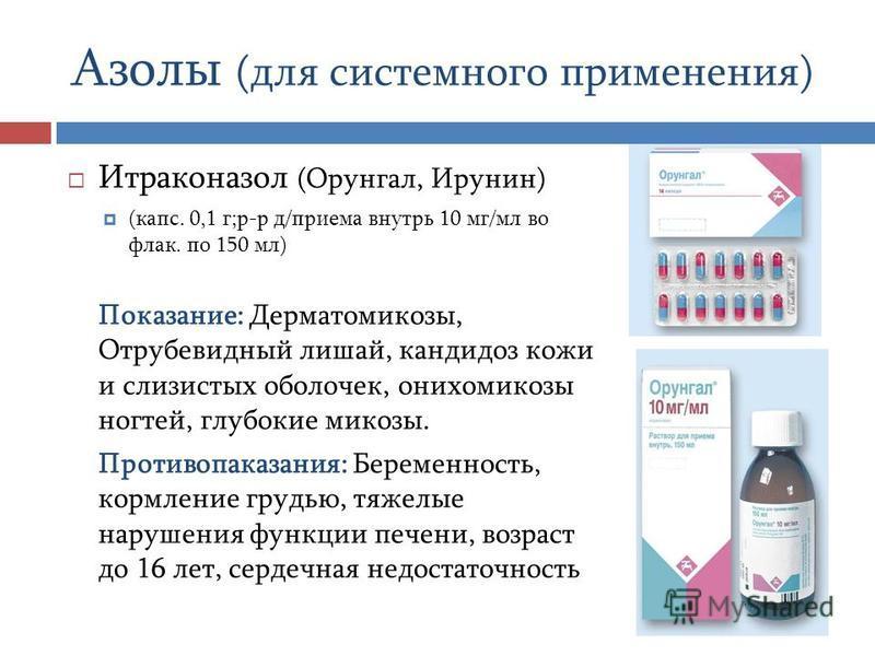 Азолы (для системного применения) Итраконазол (Орунгал, Ирунин) (капс. 0,1 г;р-р д/приема внутрь 10 мг/мл во флаг. по 150 мл) Показание: Дерматомикозы, Отрубевидный лишай, кандидоз кожи и слизистых оболочек, онихомикозы ногтей, глубокие микозы. Проти