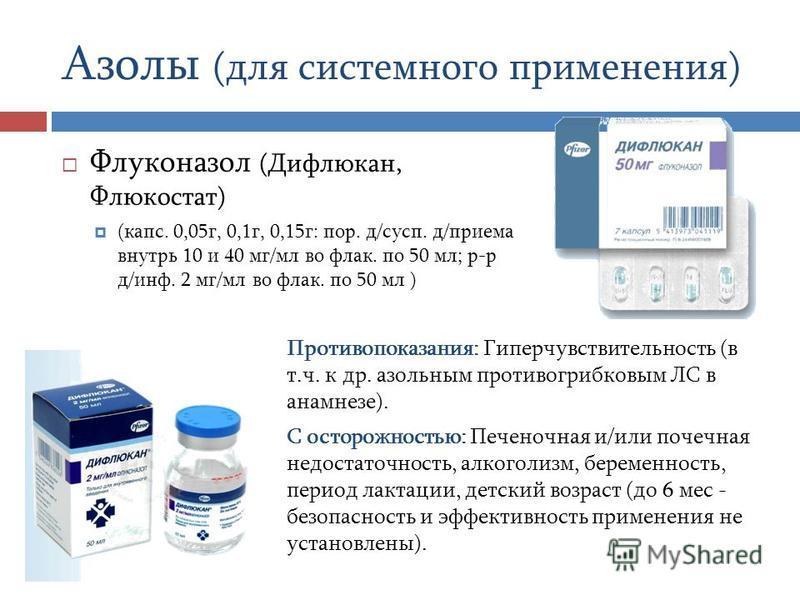 Азолы (для системного применения) Флуконазол (Дифлюкан, Флюкостат) (капс. 0,05 г, 0,1 г, 0,15 г: пор. д/сусп. д/приема внутрь 10 и 40 мг/мл во флаг. по 50 мл; р-р д/инф. 2 мг/мл во флаг. по 50 мл ) Противопоказания: Гиперчувствительность (в т.ч. к др