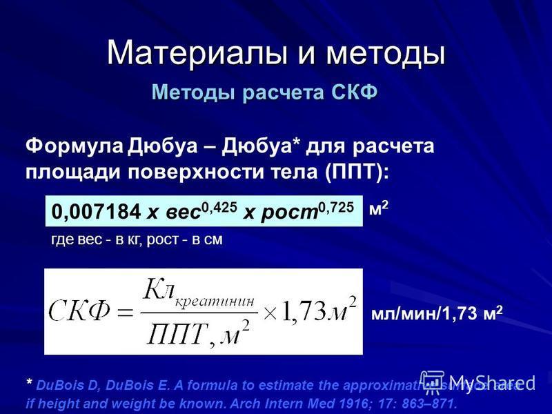 Материалы и методы Формула Дюбуа – Дюбуа* для расчета площади поверхности тела (ППТ): 0,007184 x вес 0,425 x рост 0,725 где вес - в кг, рост - в см м 2 м 2 Методы расчета СКФ * DuBois D, DuBois E. A formula to estimate the approximative surface area