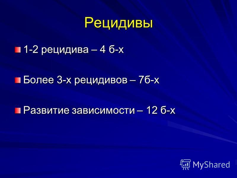 Рецидивы 1-2 рецидива – 4 б-х Более 3-х рецидивов – 7 б-х Развитие зависимости – 12 б-х