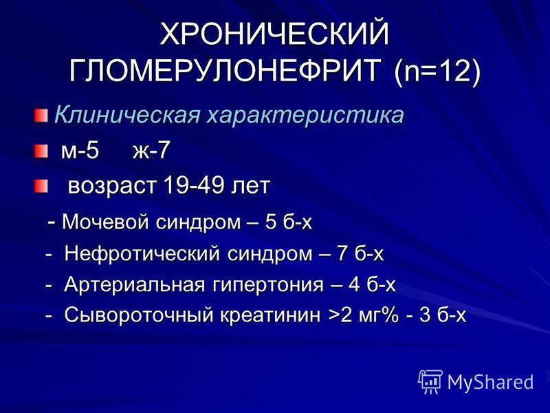 ХРОНИЧЕСКИЙ ГЛОМЕРУЛОНЕФРИТ (n=12) Клиническая характеристика м-5 ж-7 м-5 ж-7 возраст 19-49 лет возраст 19-49 лет - Мочевой синдром – 5 б-х - Мочевой синдром – 5 б-х - Нефротический синдром – 7 б-х - Нефротический синдром – 7 б-х - Артериальная гипер