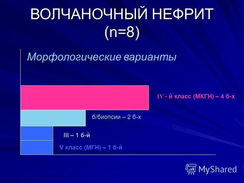ВОЛЧАНОЧНЫЙ НЕФРИТ (n=8) ІV - й класс (МКГН) – 4 б-х ІІІ – 1 б-й б/биопсии – 2 б-х V класс (МГН) – 1 б-й Морфологические варианты