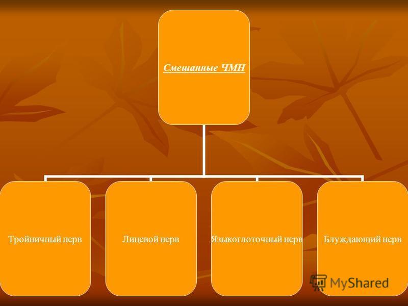 Смешанные ЧМН Тройничный нерв Лицевой нерв Языкоглоточный нерв Блуждающий нерв