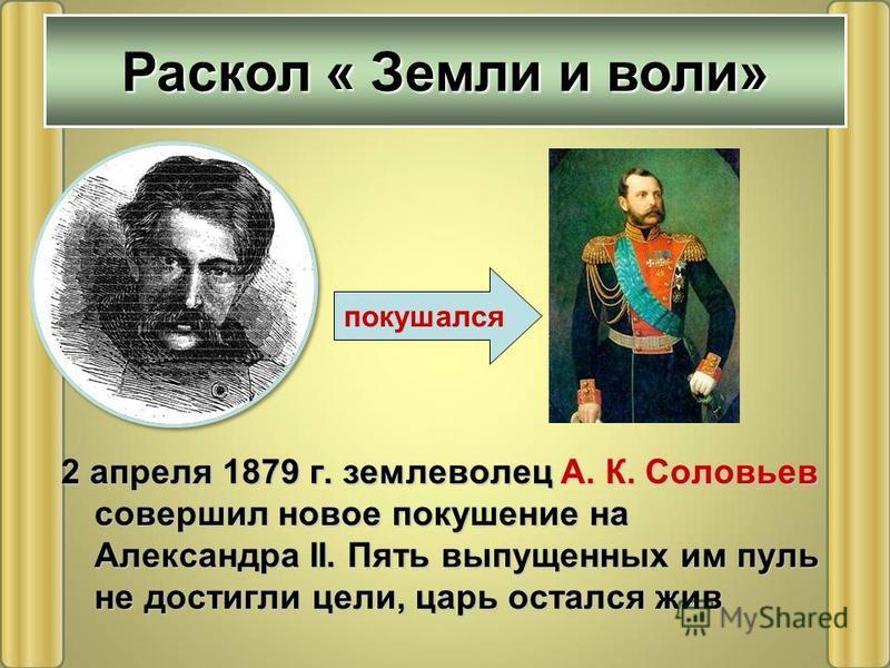 2 апреля 1879 г. землеволец А. К. Соловьев совершил новое покушение на Александра II. Пять выпущенных им пуль не достигли цели, царь остался жив Раскол « Земли и воли» покушался