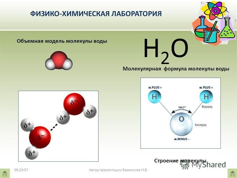 ФИЗИКО-ХИМИЧЕСКАЯ ЛАБОРАТОРИЯ Объемная модель молекулы воды Молекулярная формула молекулы воды Н2ОН2О 09:25:46 Строение молекулы Автор презентации Беземская И.В.