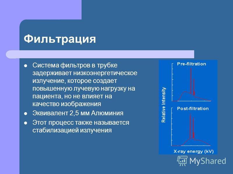 Фильтрация Система фильтров в трубке задерживает низкоэнергетическое излучение, которое создает повышенную лучевую нагрузку на пациента, но не влияет на качество изображения Эквивалент 2,5 мм Алюминия Этот процесс также называется стабилизацией излуч