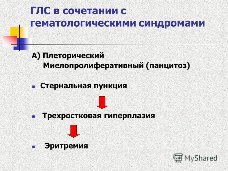 ГЛС в сочетании с гематологическими синдромами А) Плеторический Миелопролиферативный (панцитоз) Стернальная пункция Трехростковая гиперплазия Эритремия