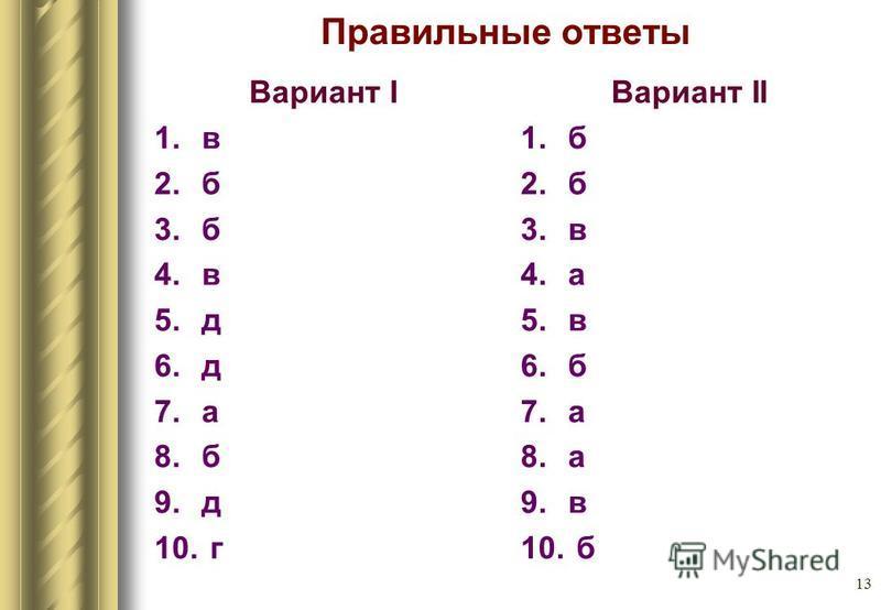 13 Правильные ответы Вариант I 1. в 2. б 3. б 4. в 5. д 6. д 7. а 8. б 9. д 10. г Вариант II 1. б 2. б 3. в 4. а 5. в 6. б 7. а 8. а 9. в 10. б