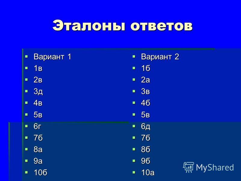 Эталоны ответов Вариант 1 Вариант 1 1 в 1 в 2 в 2 в 3 д 3 д 4 в 4 в 5 в 5 в 6 г 6 г 7 б 7 б 8 а 8 а 9 а 9 а 10 б 10 б Вариант 2 Вариант 2 1 б 1 б 2 а 2 а 3 в 3 в 4 б 4 б 5 в 5 в 6 д 6 д 7 б 7 б 8 б 8 б 9 б 9 б 10 а 10 а