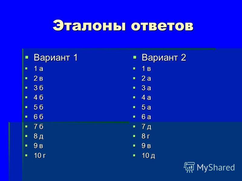 Эталоны ответов Вариант 1 Вариант 1 1 а 1 а 2 в 2 в 3 б 3 б 4 б 4 б 5 б 5 б 6 б 6 б 7 б 7 б 8 д 8 д 9 в 9 в 10 г 10 г Вариант 2 Вариант 2 1 в 1 в 2 а 2 а 3 а 3 а 4 а 4 а 5 а 5 а 6 а 6 а 7 д 7 д 8 г 8 г 9 в 9 в 10 д 10 д