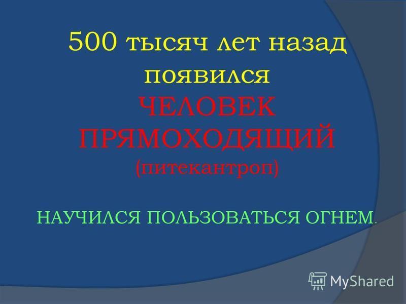 500 тысяч лет назад появился ЧЕЛОВЕК ПРЯМОХОДЯЩИЙ (питекантроп) НАУЧИЛСЯ ПОЛЬЗОВАТЬСЯ ОГНЕМ.